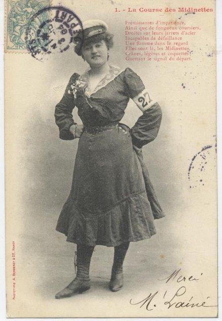 Parmi ces jeunes ouvrières de la couture et de la mode, la 1°; Jeanne Cheminel ( modiste) remportera ce 12km en 1h10 devant   Louise  et Lucy respectivement  giletière &  couturière.