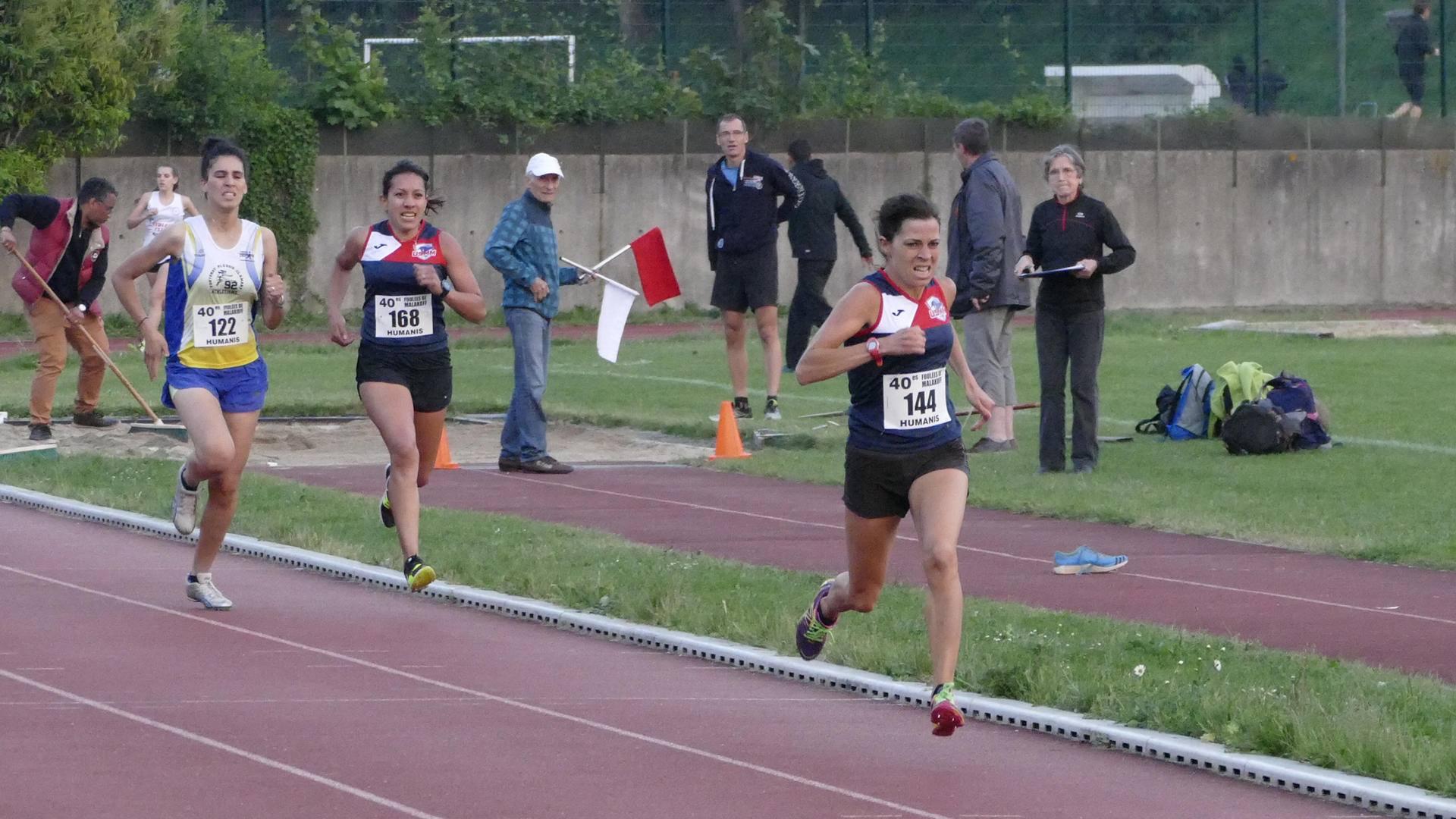 Frederique Bourree à l'arrivée de la 2e série du 1000 m