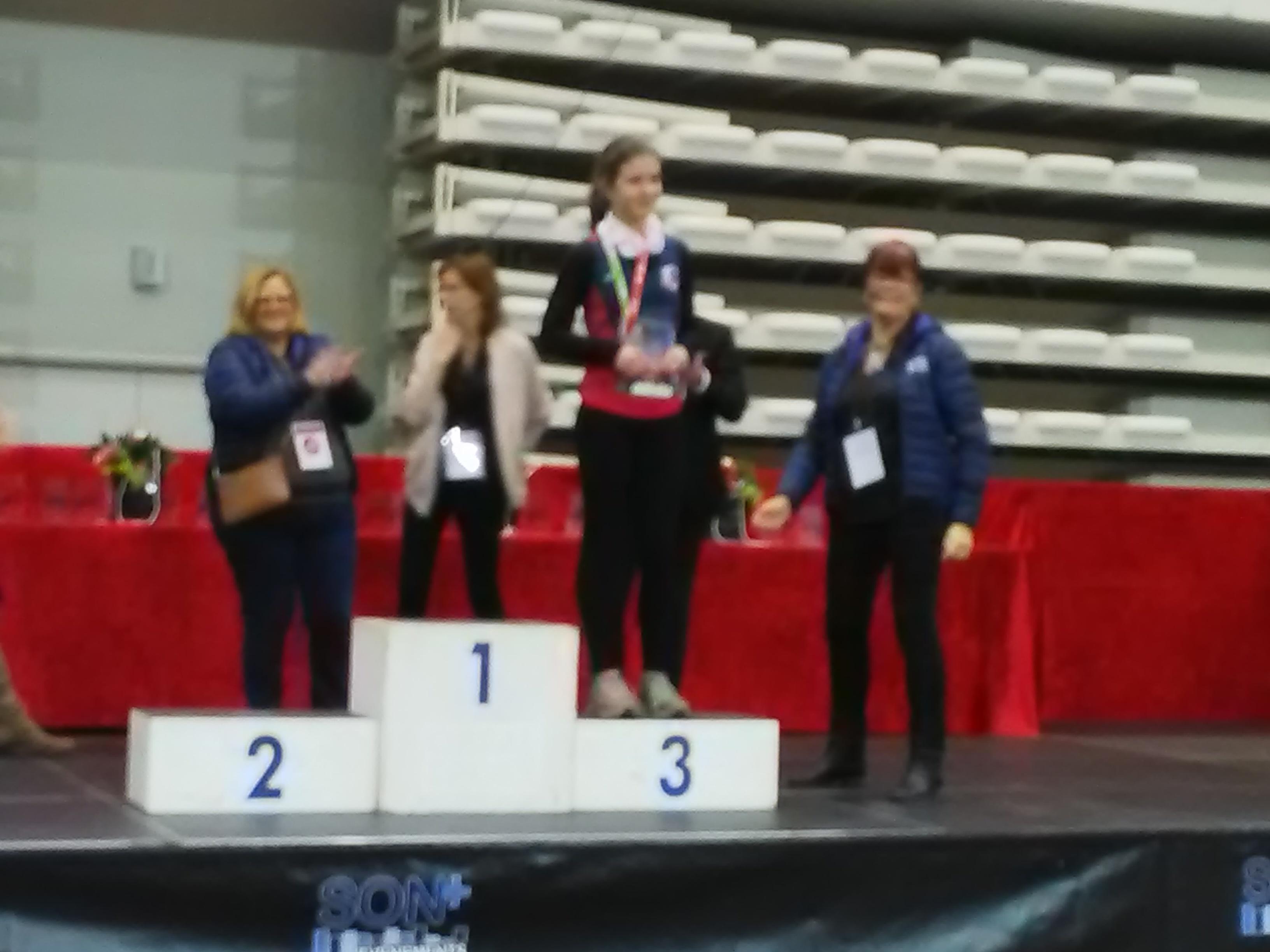 Marguerite Lecas sur le podium