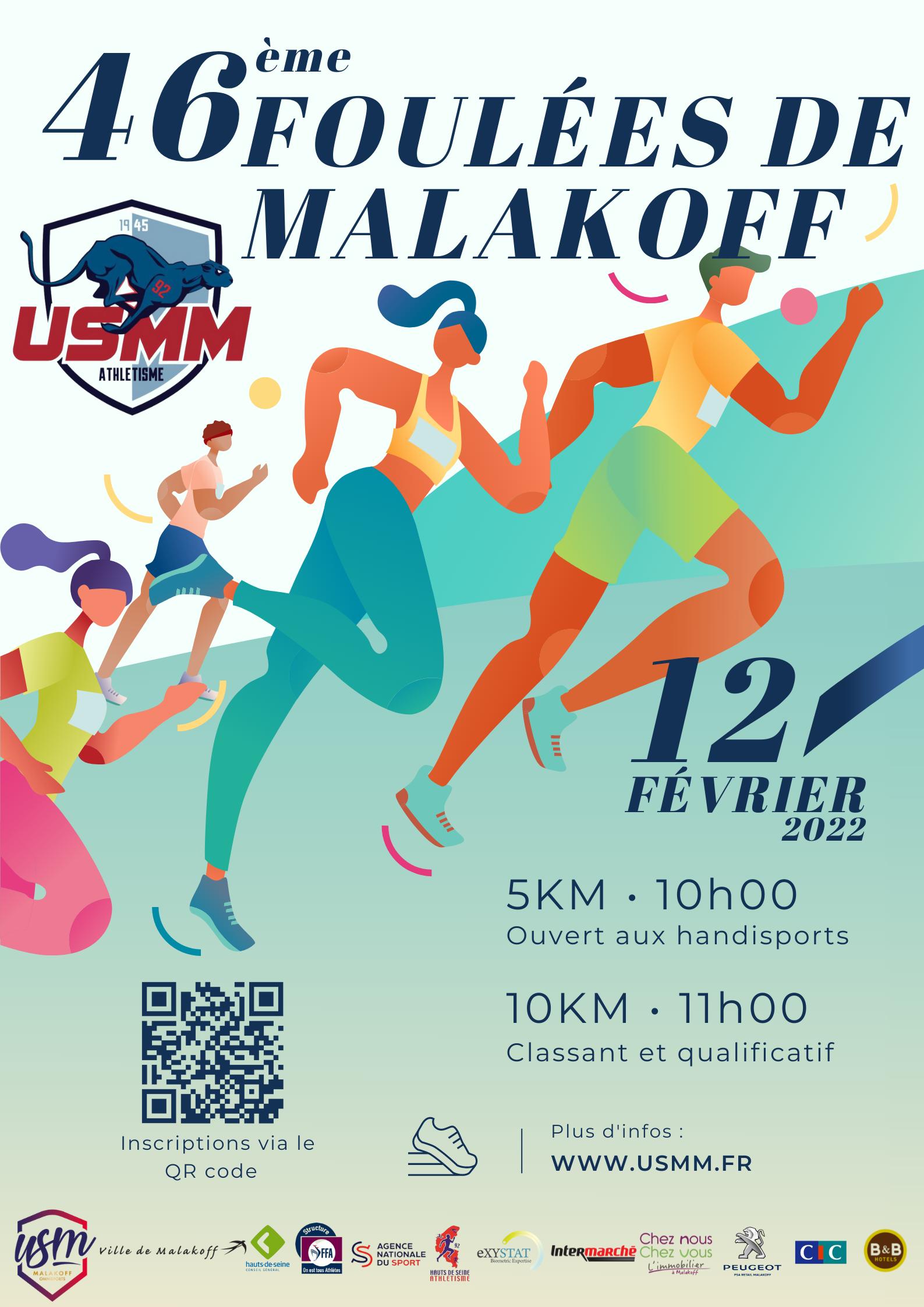 Les Foulées de Malakoff prévues le Samedi 30 janvier 2021 sont reportées au 10 avril 2021 - 5km et 10km qualificatifs - inscriptions sur le site protiming.fr
